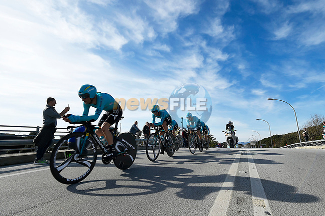Astana Pro Cycling Team in action during the 1st stage of the race of the two seas, 52nd Tirreno-Adriatico by NamedSport a 22.7km Team Time Trial around Lido di Camaiore, Italy. 8th March 2017.<br /> Picture: La Presse/Fabio Ferrari | Cyclefile<br /> <br /> <br /> All photos usage must carry mandatory copyright credit (&copy; Cyclefile | La Presse)