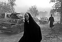Baghdad, Iraq, April 5, 2003.Civilians in Baghdad are becoming very anxious as US forces approach the city, a substantial number are leaving to find refuge in the countryside.