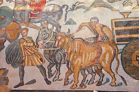 Bull and cart cart from the Ambulatory of The Great Hunt, room no 28,  - Roman mosaics at the Villa Romana del Casale which containis the richest, largest and most complex collection of Roman mosaics in the world. Constructed  in the first quarter of the 4th century AD. Sicily, Italy. A UNESCO World Heritage Site.