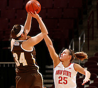 Ohio State Buckeyes guard Amy Scullion (25) tries to block Lehigh Mountain Hawks forward Kerry Kinek (34) during the first half of the NCAA women's basketball game at Value City Arena on Wednesday, November 27, 2013. (Columbus Dispatch photo by Jonathan Quilter)