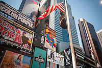 "An electronic billboard promoting the Donald Trump presidential campaign in Times Square in New York on Thursday, September 15, 2016. The animated display, showing Trump as ""Super Trump"" ,was paid for by the Committee to Restore America's Greatness which has no affiliation with the candidate. The four-day advertising campaign is also being shown along I-4 in Central Florida. (© Richard B. Levine)"
