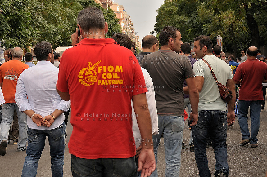 Palermo, strike of the shipyard workers.<br /> Palermo sciopero degli operai della Fincantieri.