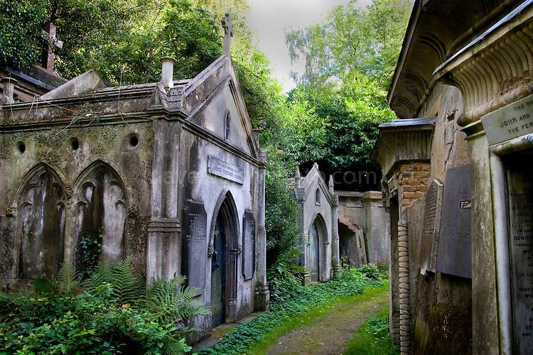Tombs at Highgate Cemetery London - Circle of Lebanon