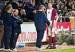 Hearts v St Johnstone....11.01.11  Scottish Cup.An injured Kevin Kyle talks with Jim Jefferies as he is subbed.Picture by Graeme Hart..Copyright Perthshire Picture Agency.Tel: 01738 623350  Mobile: 07990 594431