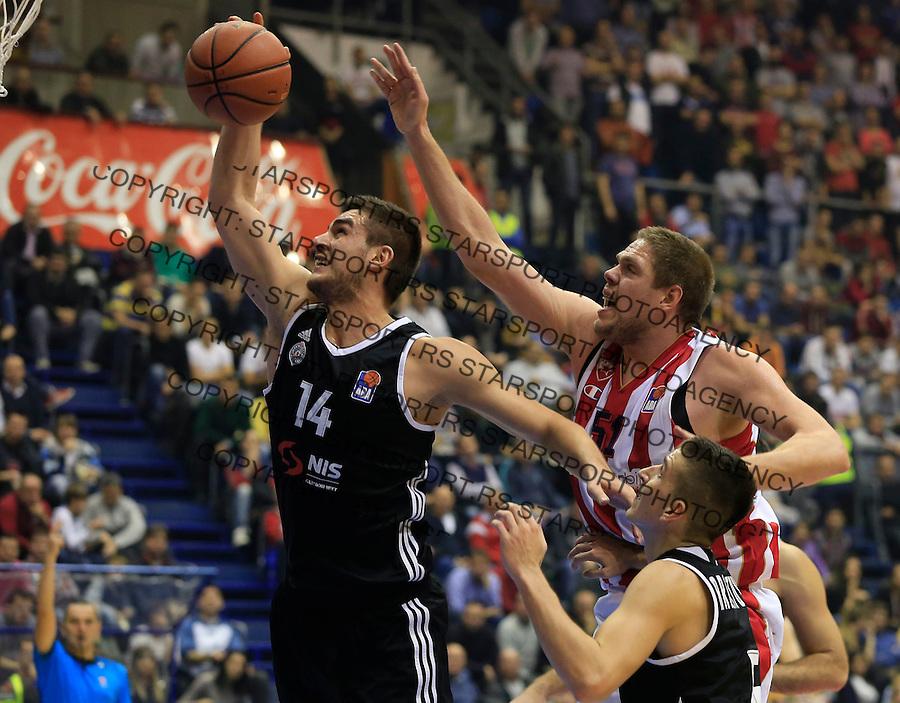 Kosarka ABA League season 2015-2016<br /> Crvena Zvezda v Partizan<br /> Bozo Djumic (L) Vladimir Stimac<br /> Beograd, 03.11.2015.<br /> foto: Srdjan Stevanovic/Starsportphoto&copy;