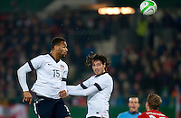 VIENNA, Austria - November 19, 2013: Terrence Boyd and Mix Diskerud during a 0-1 loss to host Austria during the international friendly match between Austria and the USA at Ernst-Happel-Stadium.