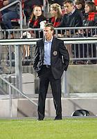 15 April 2010: Philadelphia Union head coach Peter Nowak watches his team during a game between the Philadelphia Union and Toronto FC at BMO Field in Toronto..Toronto FC won 2-1..Photo by Nick Turchiaro/isiphotos.com.