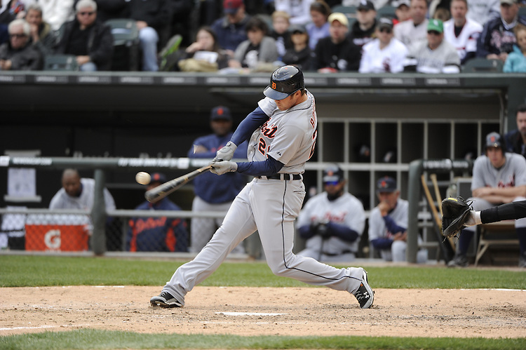 CHICAGO - APRIL 13:  Brennan Boesch #26 of the Detroit Tigers bats against the Chicago White Sox on April 13, 2012 bats U.S. Cellular Field in Chicago, Illinois.  The White Sox defeated the Tigers 5-2.  (Photo by Ron Vesely)   Subject:  Brennan Boesch