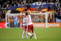 Luke Rodgers (9) of the New York Red Bulls celebrates scoring with Teemu Tainio (2). The New York Red Bulls defeated the Los Angeles Galaxy 2-0 during a Major League Soccer (MLS) match at Red Bull Arena in Harrison, NJ, on October 4, 2011.