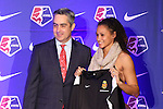16 January 2015: Lynn Williams (Pepperdine), with NWSL Commissioner Jeff Plush, was selected with the sixth overall pick by Western New York Flash. The National Women's Soccer League Draft was held at the Pennsylvania Convention Center in Philadelphia, Pennsylvania.
