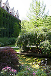 Botanic Garden and pond in the Quadrangle of the University of Chicago campus, Chicago, Illinois, IL, USA