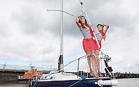 ****NO FEE PIC**** French Mademoiselles Sinead Noonan Suzanne McCabe at the National Yacht Club Dun Laoghaire to launch Festival Des Bateaux which takes place between August 11th and 14th 2011 .Dun Laoghaire will be the only international stop on the world famous French Solitaire du Figaro yacht race. To celebrate the stopover of this iconic 3,390 km race, Dun Laoghaire Rathdown County Council, the Dun Laoghaire Harbour Company and the National Yacht Club have joined forces to create Festival des Bateaux. The harbour will be a magnificent tapestry of colour as the boats arrive for this international event. Dun Laoghaire will be resplendent with fireworks, music and the sights, sounds, foods, and 'joie de vivre' of France. Photo: Gareth Chaney Collins