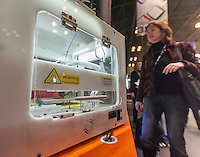 A PieceMaker 3d printer is displayed at the 112th American International Toy Fair in the Jacob Javits Convention center in New York on Monday, February 16, 2015.  The printer is meant to be placed in a retail setting to print out toys on demand.  The four day trade show with over 1000 exhibitors connects buyers and sellers and draws tens of thousands of attendees.  The toy industry generates over $84 billion worldwide and Toy Fair is the largest toy trade show in the Western Hemisphere. (© Richard B. Levine)