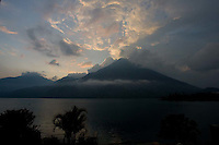 Sunset over Volcan San Pedro at Lake Atitlán, Guatemala.