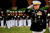 Joint Chiefs of Staff Vice Chairman United States Marine General James E. Cartwright salutes during the playing of the national anthem during a farewell ceremony in his honor at the U.S. Marine Corps Barracks, Washington, D.C., August 3, 2011. Cartwright is a target of a U.S. Justice Department investigation into a leak of information about a covert U.S.-Israeli cyberattack on Iran&rsquo;s nuclear program. <br /> Mandatory Credit: Jacob N. Bailey / DoD via CNP
