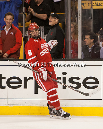 Joseph Meyers (BU - Manager), Ryan Cloonan (BU - 8), Mike DiMella (BU - Equipment Manager) - The Boston University Terriers defeated the Boston College Eagles 3-1 in their opening Beanpot game on Monday, February 6, 2017, at TD Garden in Boston, Massachusetts.