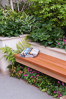 Foliage Garden & patio, raised beds, with wooden bench, blanket