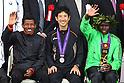 (L to R) Haile Gebrselassie (ETH), Arata Fujiwara (JPN), Michael Kipyego (KEN), .February 26, 2012 - Marathon : .Tokyo Marathon 2012, Medal Ceremony .at Tokyo Big Sight, Tokyo, Japan. .(Photo by Daiju Kitamura/AFLO SPORT) [1045]