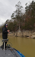 NWA Democrat-Gazette/FLIP PUTTHOFF <br /> &quot;Guys who are doing really well in tournaments are staying in this muddy water all day,&quot; Brashers says. Here he fishes March 18, 2016 in a cove of the Ventris area of Beaver Lake.