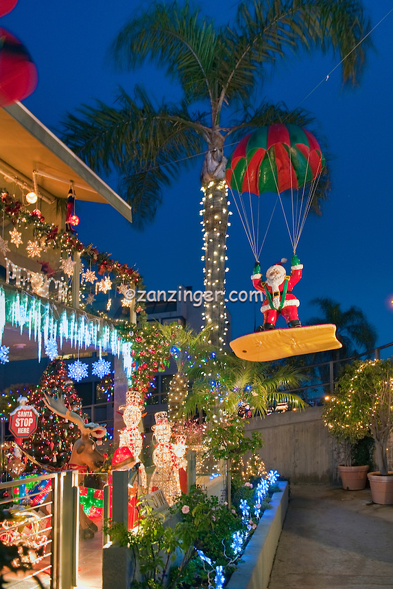 surfing santa christmas lights treasure island naples long beach ca