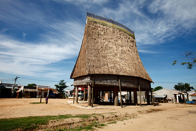 """A """"rong,"""" or communal house, occupies the square of a Bahnar village near the Central Highlands town of Kon Tum, Vietnam. The Bahnar are one of more than two dozen hill tribes that were once called Montagnards in the West, but are now known as the Dega. April 14, 2012."""