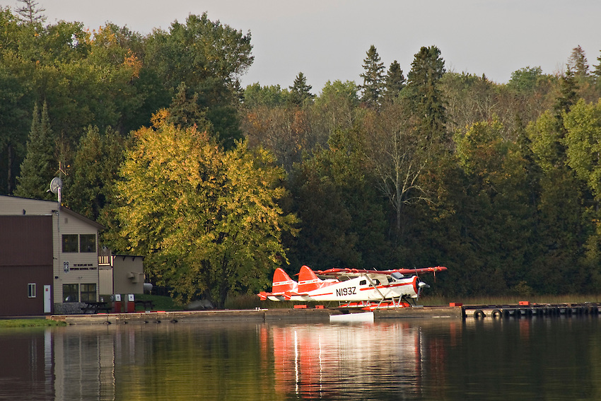 Float plane dock in the town of Ely in northern Minnesota gateway to the Boundary Waters Canoe Area Wilderness.