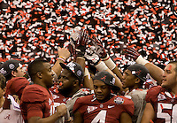 Alabama players celebrates after winning BCS National Championship game against LSU at Mercedes-Benz Superdome in New Orleans, Louisiana on January 9th, 2012.   Alabama defeated LSU, 21-0.