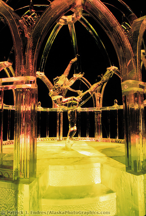 Limelight, award winning Ice Sculpture lit by colored lights, Fairbanks,