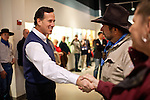 GOP presidential candidate Rick Santorum greets supporters at a campaign stop at the Churchill County Museum in Fallon, Nev., February 2, 2012.