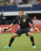 Nick Rimando #1 of the USMNT in action during the match against Honduras on July 24, 2013 at Dallas Cowboys Stadium in Arlington, TX. USMNT won 3-1.