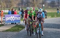 A group with Oliver Naesen (BEL/AG2R-LaMondiale) &amp; Sep Vanmarcke (BEL Cannondale-Drapac) trying to catch the group ahead of them again over the Varent cobbles<br /> <br /> 72nd Dwars Door Vlaanderen (1.UWT)<br /> 1day race: Roeselare &rsaquo; Waregem BEL (203.4km)