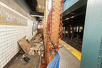 Part of the platform of the 28th Street station on the IRT Number 1 line subway in New York is seen partially cordoned off on Friday, April 14, 2017. This section of the platform, which as been closed since 2014, has been inaccessible until the fencing at one end of the closed off area has been removed enabling the homeless to move in.(© Richard B. Levine)