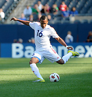 Cuba's Joel Colomé sends in a cross.  El Salvador defeated Cuba 6-1 at the 2011 CONCACAF Gold Cup at Soldier Field in Chicago, IL on June 12, 2011.