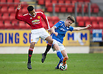 St Johnstone Academy v Manchester Utd Academy&hellip;.06.05.16  McDiarmid Park, Perth<br />Gavin Brown battkes with Mason Greenwood<br />Picture by Graeme Hart.<br />Copyright Perthshire Picture Agency<br />Tel: 01738 623350  Mobile: 07990 594431