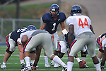 Ole Miss quarterback Randall Mackey (1) calls signals at Vaught-Hemingway Stadium in Oxford, Miss. on Saturday, August 13, 2011. (AP Photo/Oxford Eagle, Bruce Newman)