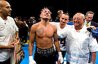 David Estrada (left) with Angelo Dundee (right) after his fight with Chris Smith during their 12 Round IBF Welterweight Eliminator fight at the Mohegan Sun Arena in Uncasville, Connecticut on January 21,2005..David Estrada won the fight by TKO in the 11th Round
