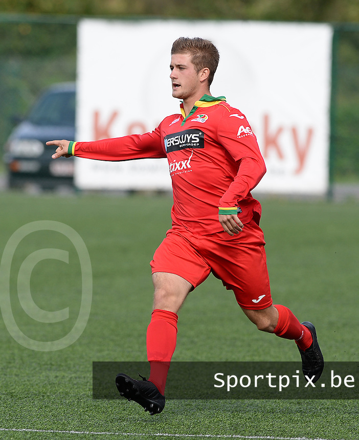 20150826 - KORTRIJK , BELGIUM : Oostende's Jens Desaever pictured during the Under 19 ELITE soccer match between KV Kortrijk and KV Oostende U19 , on the third matchday in the -19 Elite competition. Wednesday 26 August 2015. PHOTO DAVID CATRY