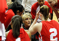 Utah Head Coach Elaine Elliott talks to her team during a timeout as Utah plays against TCU in the Mountain West Conference basketball Championship Tournament at the Thomas & Mack Center in Las Vegas, Nevada Friday, March 12, 2010.  August Miller, Deseret News .