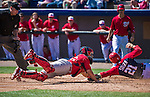 9 March 2014: St. Louis Cardinals catcher Tony Cruz is unable to tag a sliding Steven Souza in the fourth inning of a Spring Training game against the Washington Nationals at Space Coast Stadium in Viera, Florida. The Nationals defeated the Cardinals 11-1 in Grapefruit League play. Mandatory Credit: Ed Wolfstein Photo *** RAW (NEF) Image File Available ***