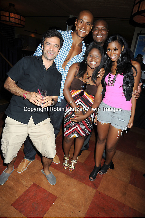 One Life to Live group shot, Nick Choksi, Max Tapper, Shenell Edmonds, Sean Ringgold and Nafessa Williams attending the 5th Annual Sean Ringgold Fan Club Party on August 12, 2011 at HB Burger's Sunken Bar in New York City.