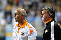 Houston Dynamo head coach Dominic Kinnear (L) and goalkeeper coach Tim Hanley (R). The Philadelphia Union and the Houston Dynamo played to a 1-1 tie during a Major League Soccer (MLS) match at PPL Park in Chester, PA, on August 6, 2011.