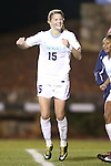 16 November 2012: UNC's Katie Bowen (NZL) reacts after scoring a goal. The University of North Carolina Tar Heels played the University of Illinois Fighting Illini at Fetzer Field in Chapel Hill, North Carolina in a 2012 NCAA Division I Women's Soccer Tournament Second Round game. UNC won the game 9-2.