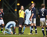 Dundee v St Johnstone.....27.02.13      SPL.Declan Gallacher is sent off by ref Willie Collum.Picture by Graeme Hart..Copyright Perthshire Picture Agency.Tel: 01738 623350  Mobile: 07990 594431