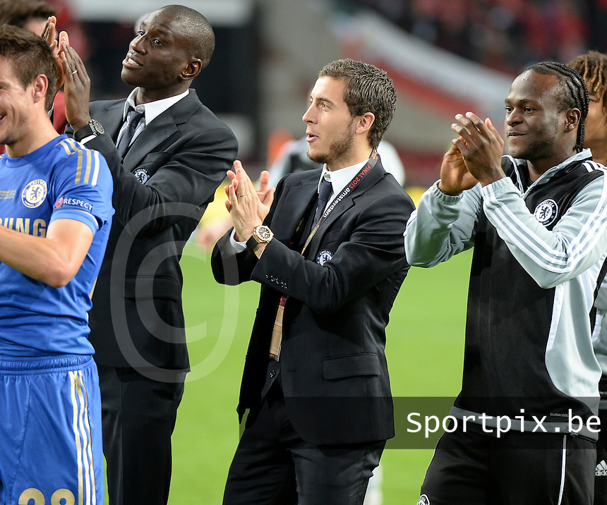 Benfica Lissabon - Chelsea FC : Eden Hazard celebrates winning the Cup with his teammates.foto DAVID CATRY / Nikonpro.be