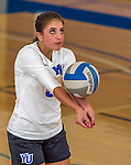18 October 2015: Yeshiva University Maccabee Libero Shaina Hourizadeh, a Junior from Englewood, NJ, warms up prior to a game against the College of Mount Saint Vincent Dolphins at the Peter Sharp Center, in Riverdale, NY. The Dolphins defeated the Maccabees 3-0 in the NCAA Division III Women's Volleyball Skyline matchup. Mandatory Credit: Ed Wolfstein Photo *** RAW (NEF) Image File Available ***