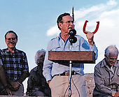 United States President George H.W. Bush speaks to US military personnel in Saudi Arabia on November 22, 1990. From left to right: United States Senate Majority Leader George Mitchell (Democrat of Maine); first lady Barbara Bush (partially obscured); President Bush; and Speaker of the United States House Tom Foley (Democrat of Washington)<br /> Mandatory Credit: Ed Bailey / DoD via CNP