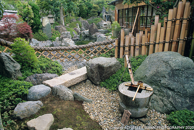 This Japanese garden has many of the features we associate with the style. Bamboo fence, dry stream, waterfall, and large stones.