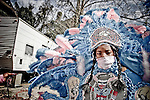 A young Mardi Gras Indian prepares for his first Mardi Gras with the Wild Magnolias in New Orleans, Lousiana, February 5, 2008.