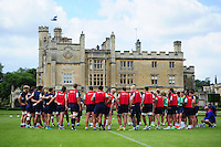 Bath Rugby players huddle together. Bath Rugby pre-season training session on August 9, 2016 at Farleigh House in Bath, England. Photo by: Patrick Khachfe / Onside Images