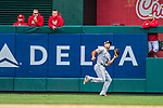 3 April 2017: Miami Marlins outfielder Giancarlo Stanton pulls in a fly ball to right in the 7th inning against the Washington Nationals on Opening Day at Nationals Park in Washington, DC. The Nationals defeated the Marlins 4-2 to open the 2017 MLB Season. Mandatory Credit: Ed Wolfstein Photo *** RAW (NEF) Image File Available ***